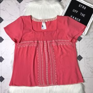 SOCIETY GIRL embroidered pink blouse size Large